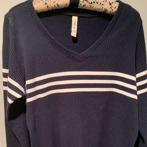 Vintage Navy White Striped Sweater 22/24